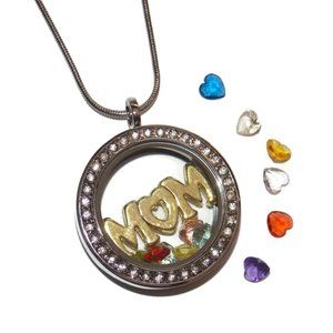 Mom Floating Locket Necklace Kit Heart Stones